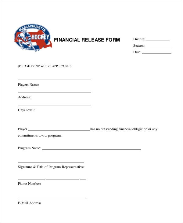 financial release form example in pdf
