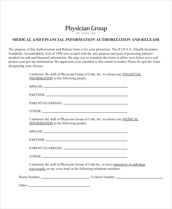 medical financial release form