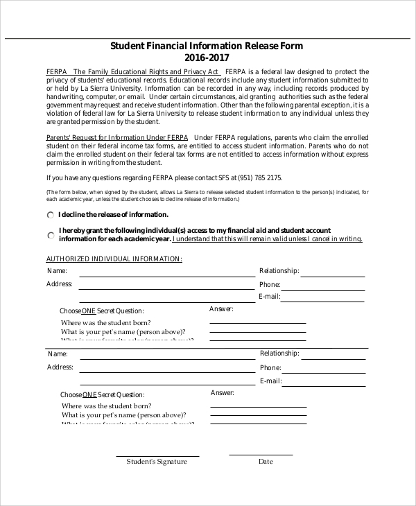 student financial release form
