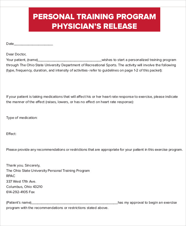 personal trainer physician release form