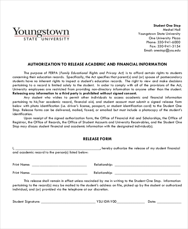 financial and academic release form