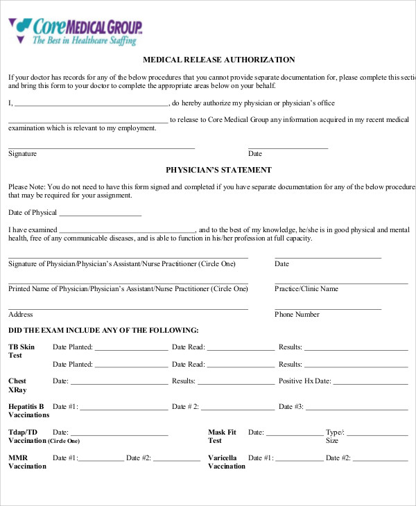Sample Physician Release Form - 9+ Examples in Word, PDF
