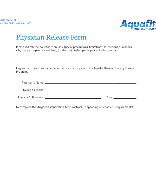 Sample Physician Release Form 9 Examples in Word PDF – Physician Release Form