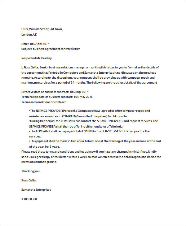 business agreement contract letter