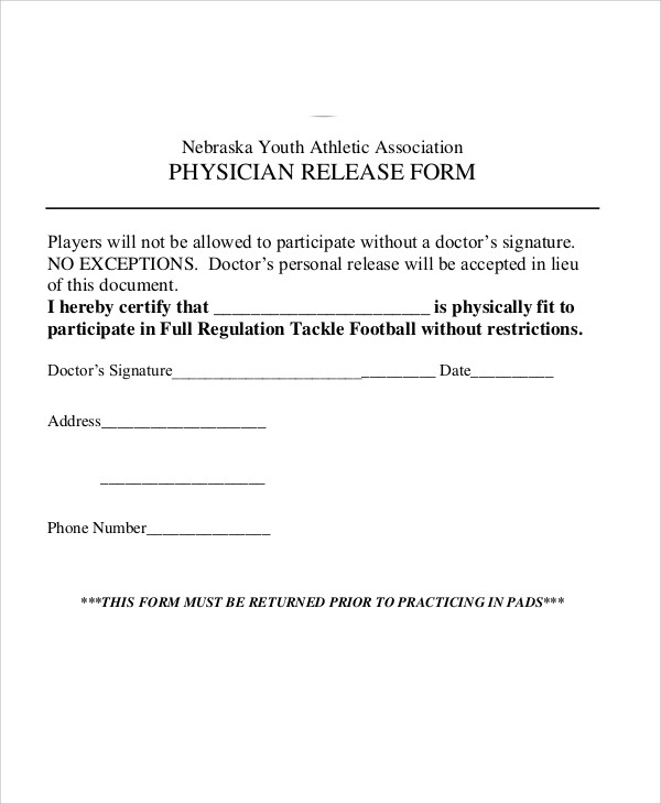 athletic physician release form example
