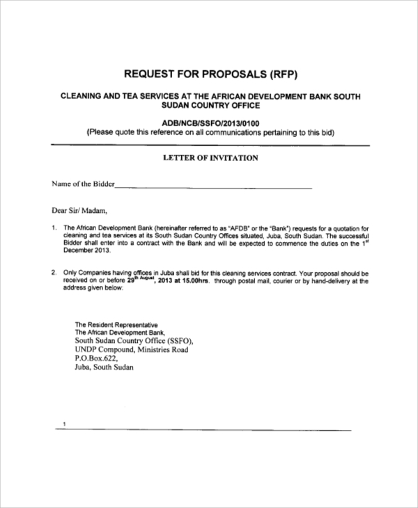 Cleaning Proposal Template Free Print Contractor Proposal Forms