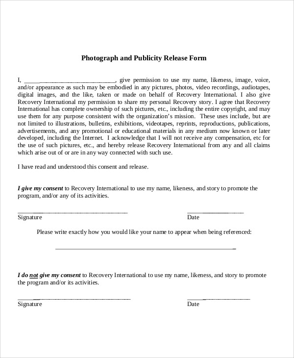Sample Publicity Release Form - 8+ Examples In Word, Pdf