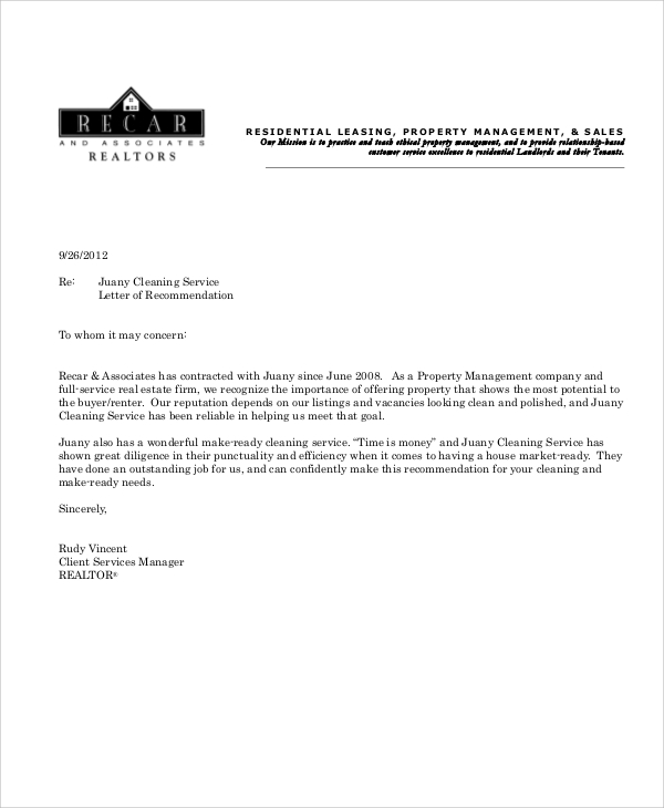 cleaning proposal letter example