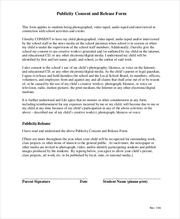 Primarycareformsvideo Consent Form Video Release Consent Form