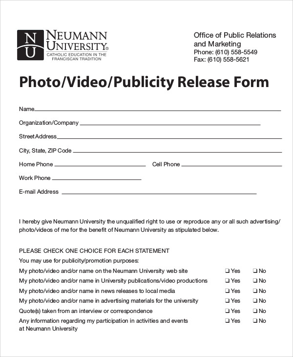 Sample Publicity Release Form   Examples In Word Pdf
