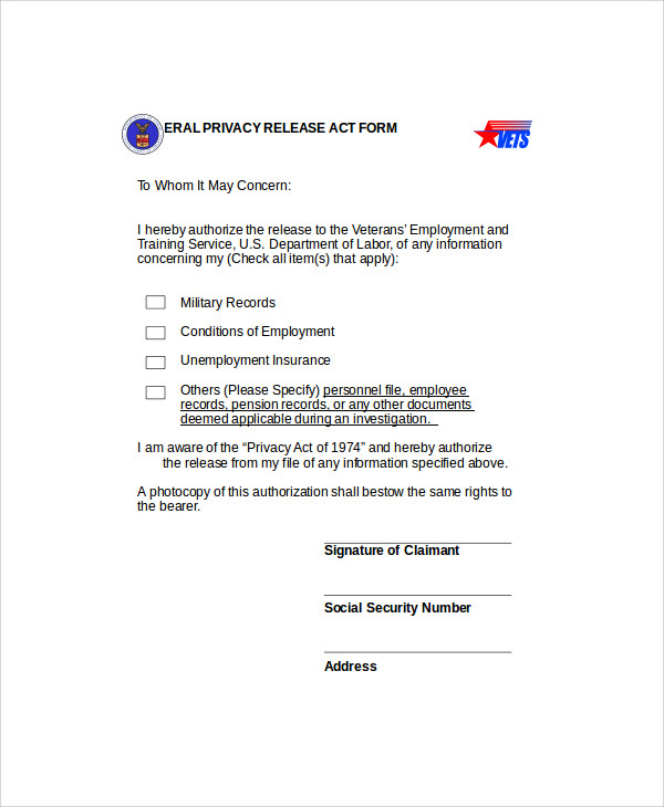 sample privacy act release form