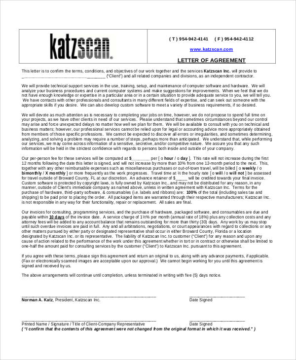 company agreement letter format