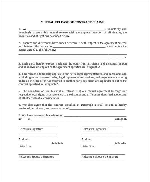 Sample Contract Release Form 10 Examples In Word PDF