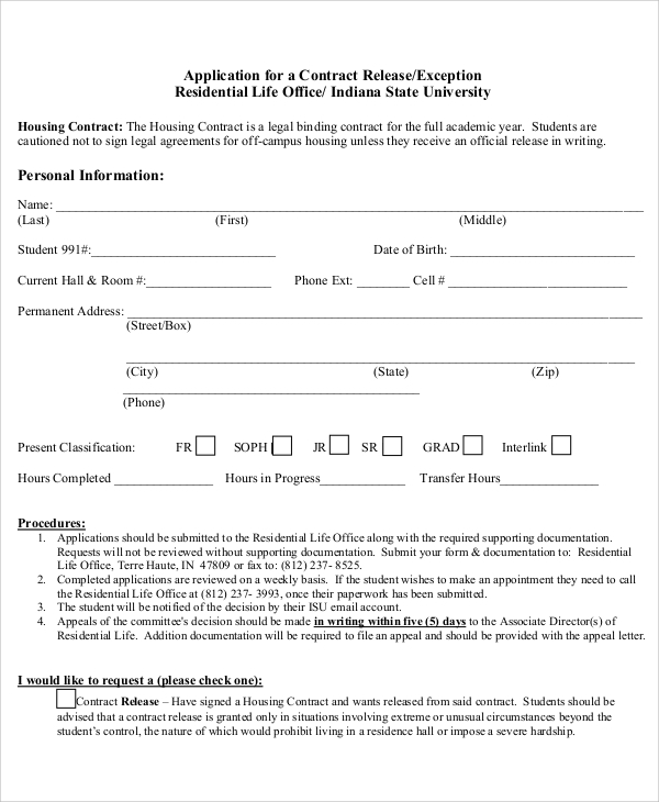 Sample Contract Release Forms Sample Templates - Housing contract template