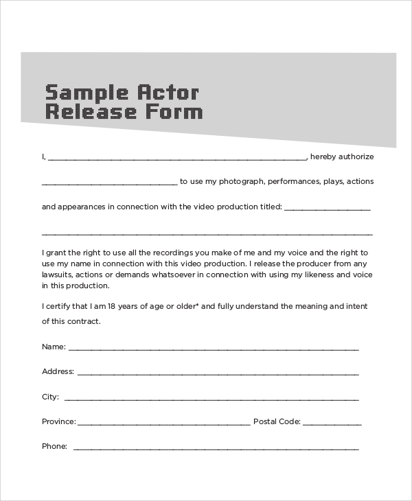 10 sample contract release forms sample templates for Acting contract template