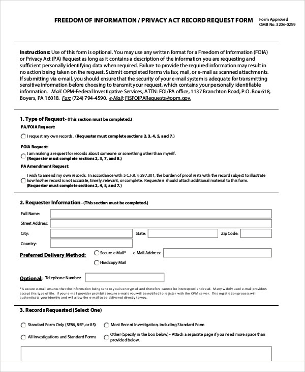 privacy act release request form