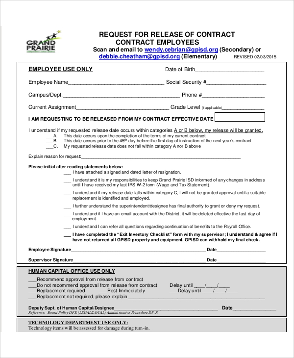 Sample Contract Release Form   Examples In Word Pdf