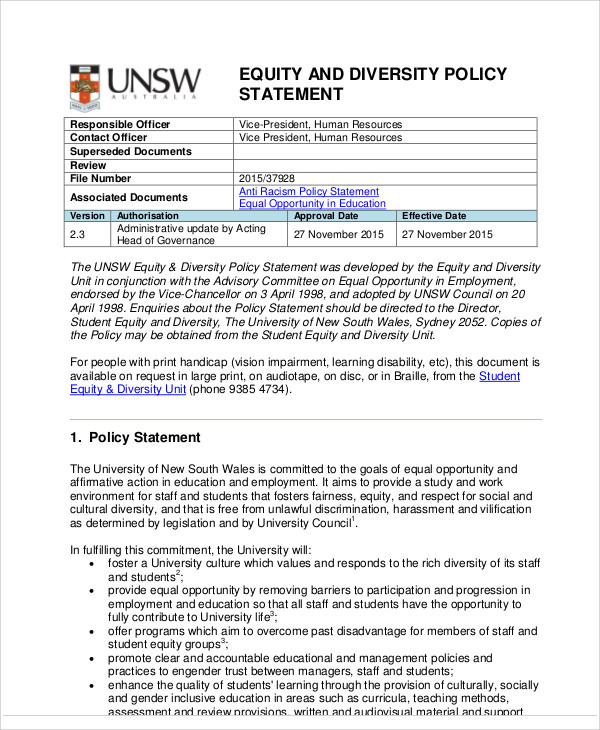 diversity policy template - 9 diversity statement samples sample templates