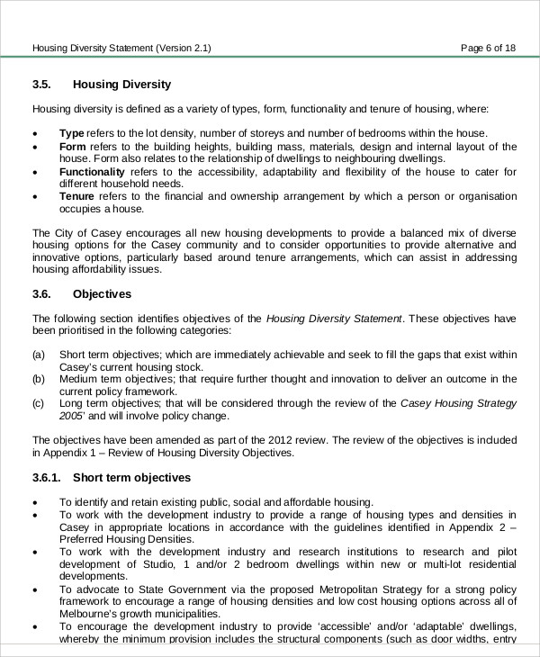 housing diversity statement