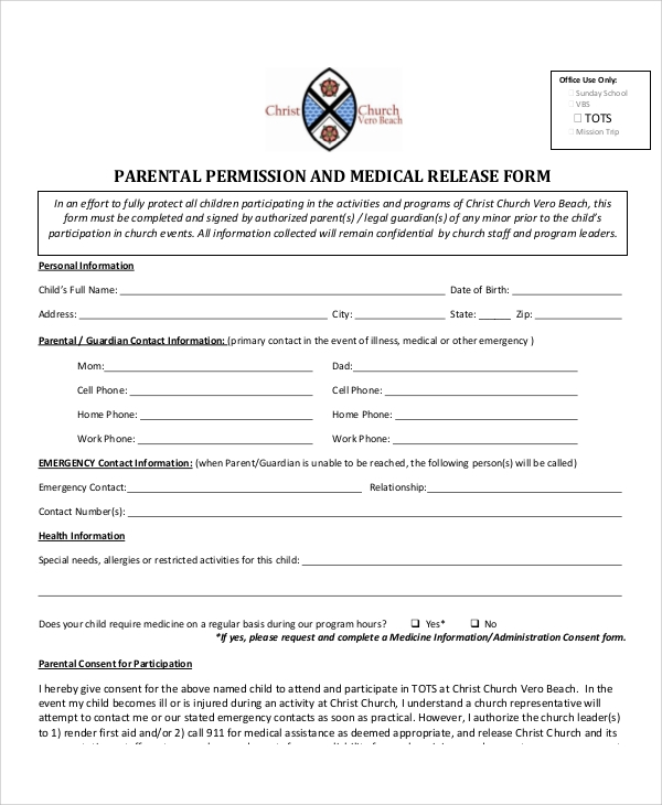parental medical consent form template - 10 sample parental release forms sample templates