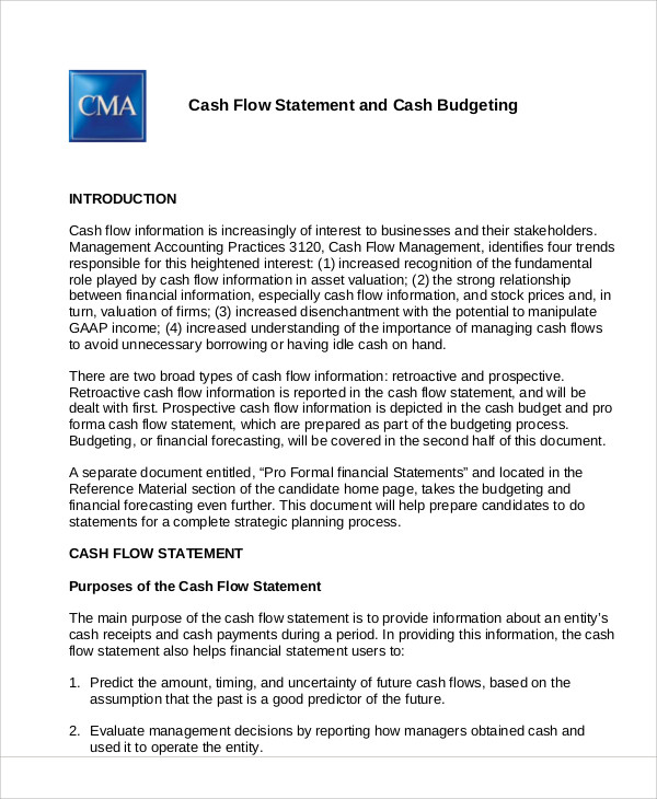 budgeted cash flow statement example