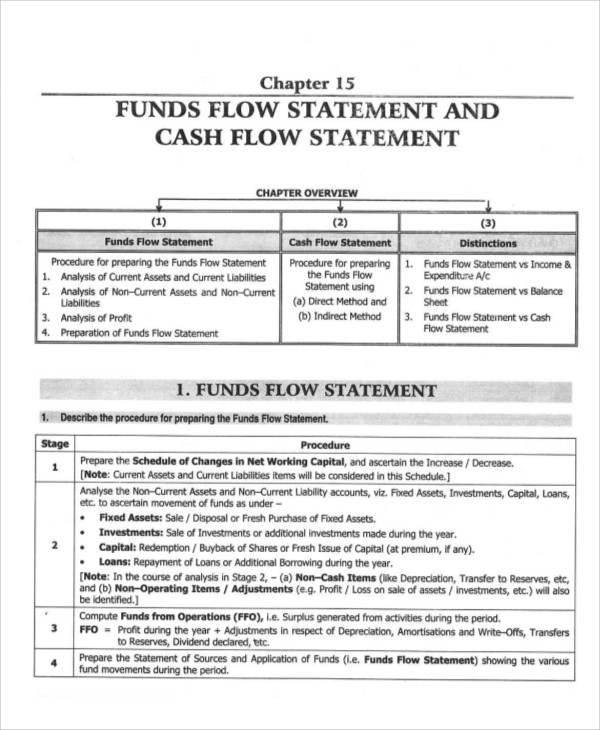 cash flow and fund statement