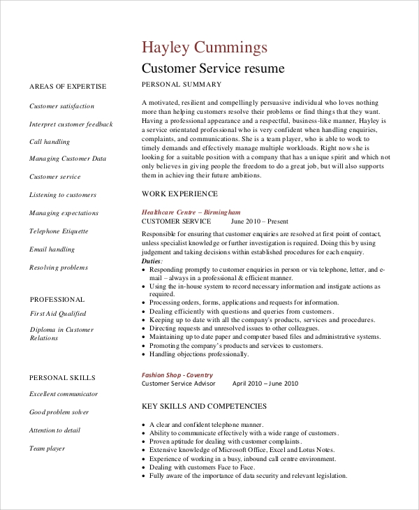healthcare customer service resume sample