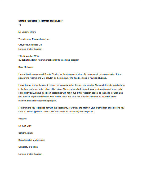 internship recommendation letter format example