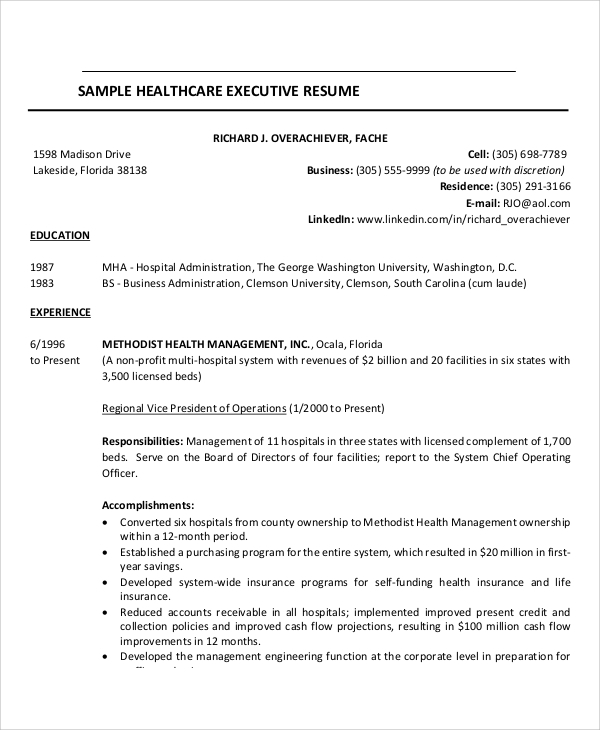 Healthcare Executive Resume Example
