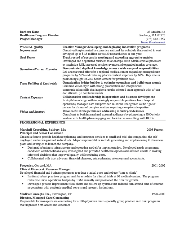 healthcare project manager resumes