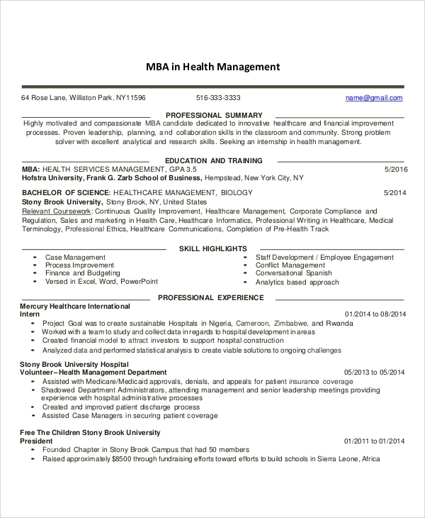 free 7  sample healthcare resume templates in ms word