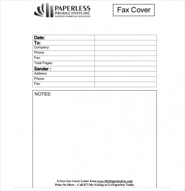 Sample Fax Cover Letter In Pdf   Examples In Pdf