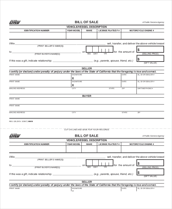 dmv bill of sale form ca Sample Bill of Sale Form in PDF - 12  Examples in PDF