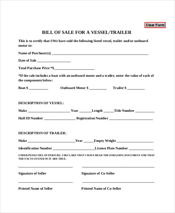 vessel bill of sale form pdf