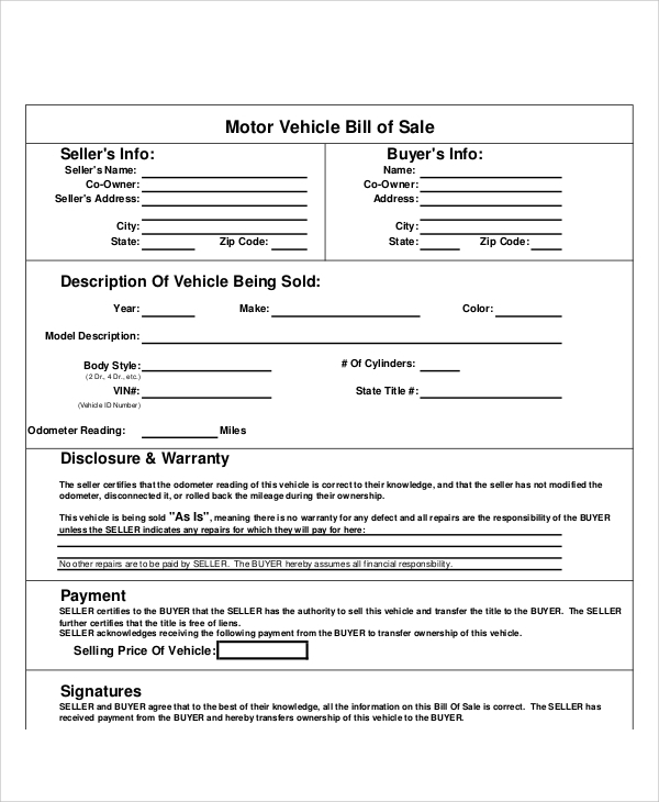 sample bill of sale form in pdf
