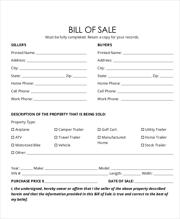 Colorado Vehicle Bill Of Sale: Sample Bill Of Sale Form In PDF