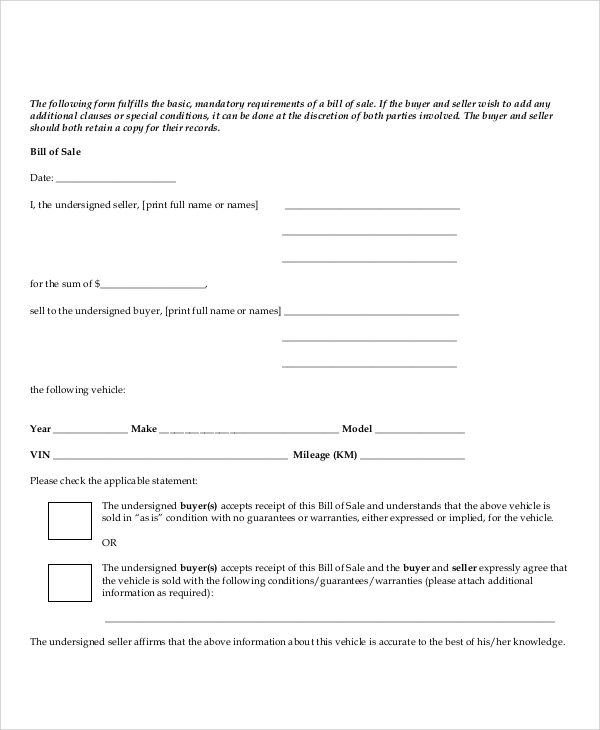 standard bill of sale form sample