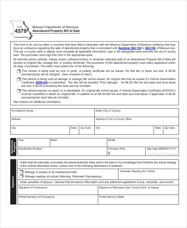 property bill of sale form pdf