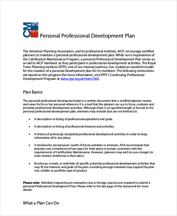 personal and professional development plan sample