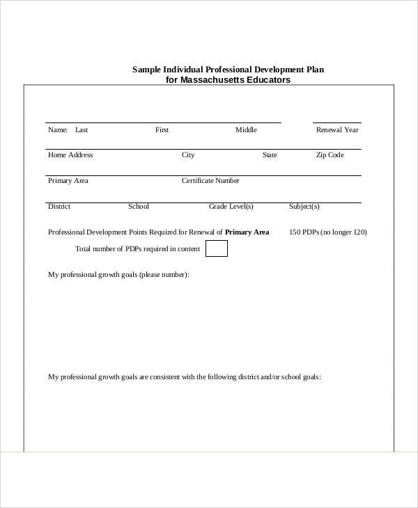 individual professional development plan example