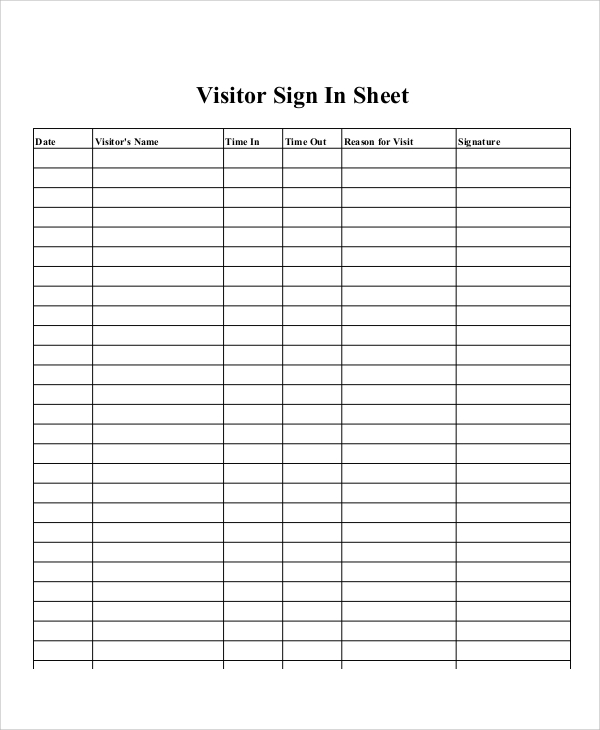 printable sample visitor sign in sheet