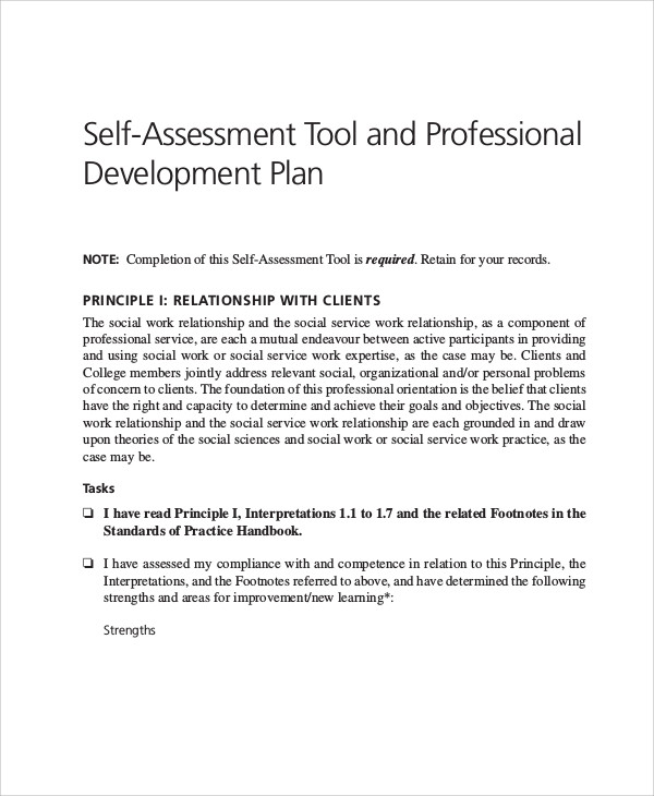 self assessment and professional development plan