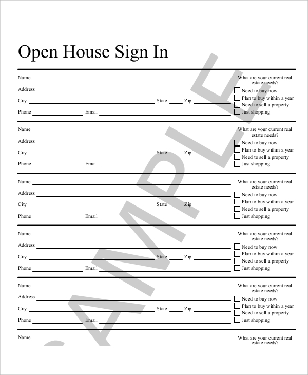 printable open house sign in sheet