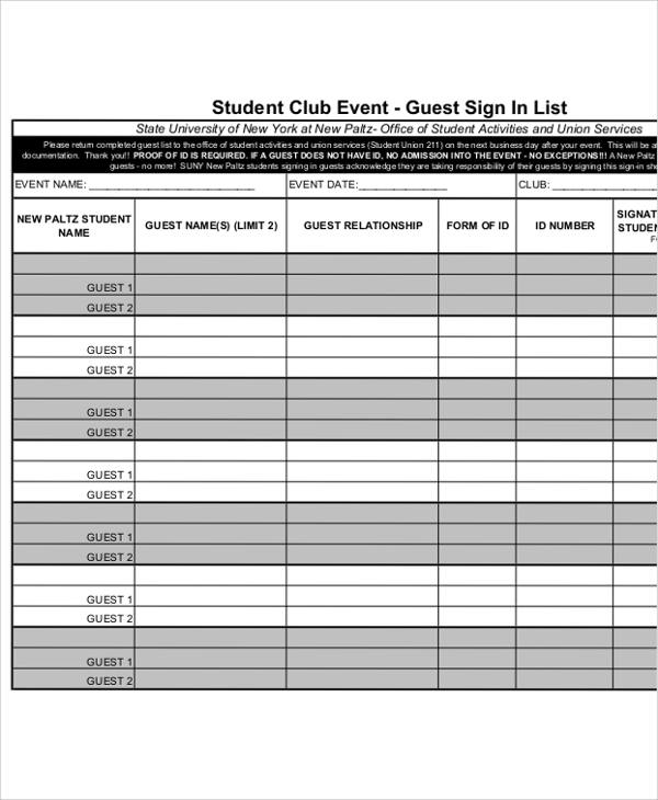 printable guest sign in sheet