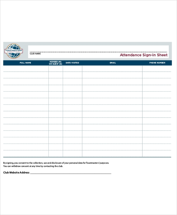 Printable Attendance Sign In Sheet  Attendance Sign In Sheet