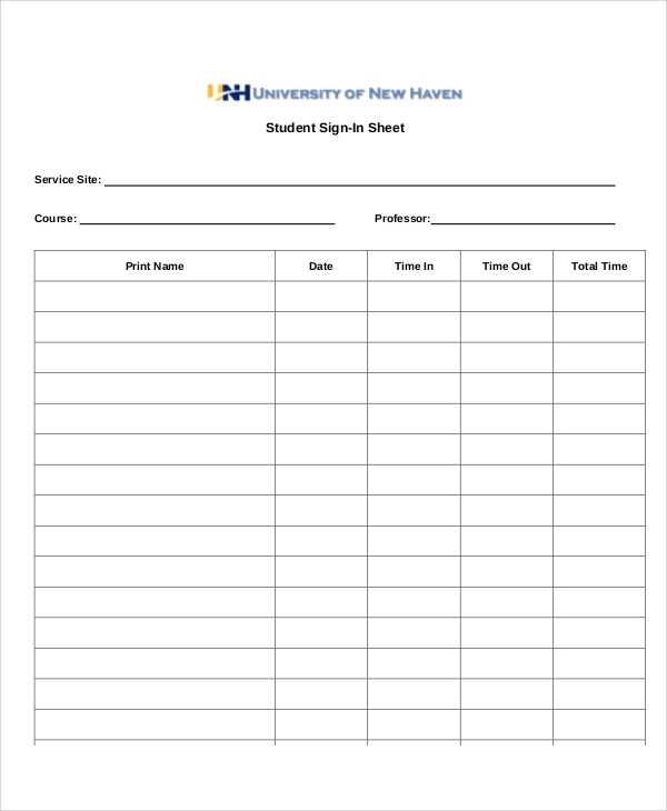 student sign in sheet printable