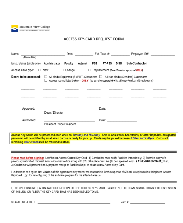 Access Request Form. Sample Key Card Request Form Sample Key