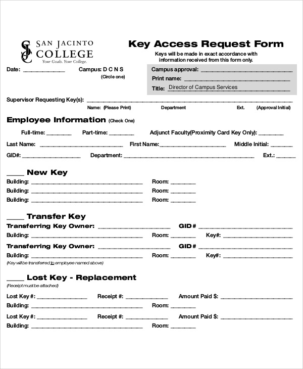 key access request form
