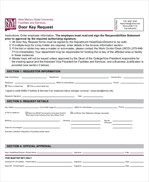 door key request form
