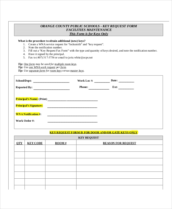 key request fax form